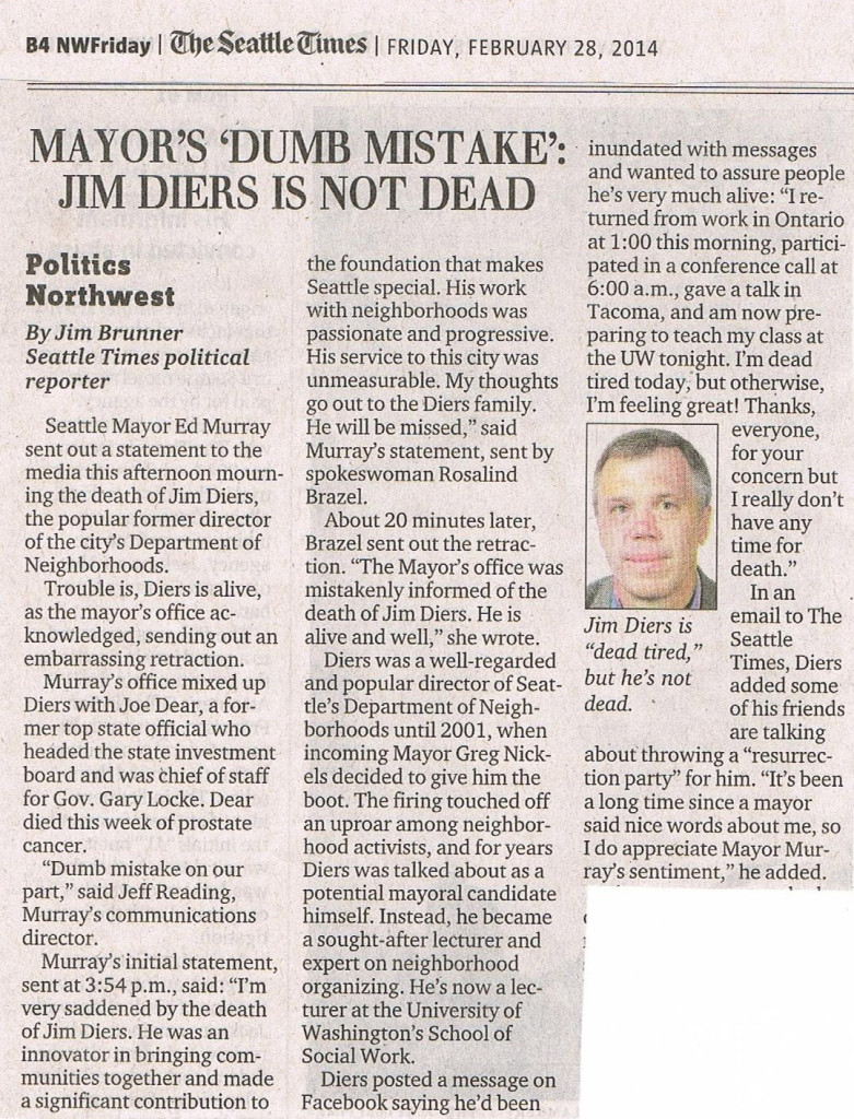 Jim Diers is not dead