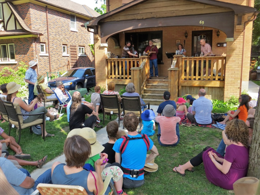 One of many neighbors hosting front porch concerts in Waterloo, Ontario
