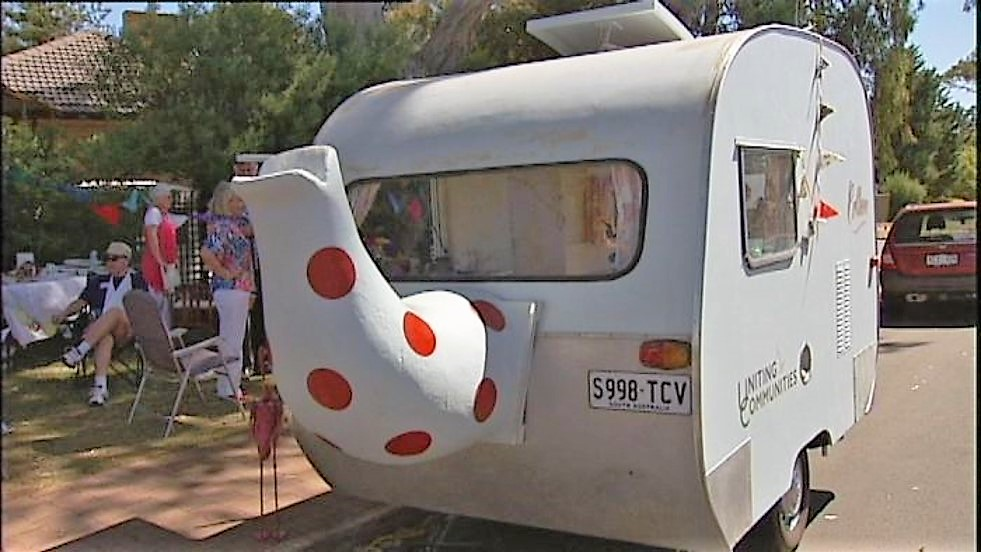 This tea trailer in Adelaide attracts neighbors wherever it parks.