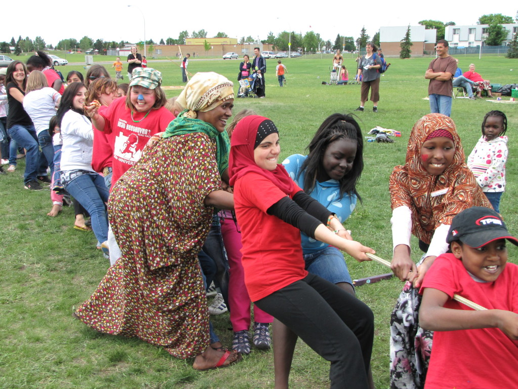 Edmonton neighbors organized activities in their local park to promote bumping.
