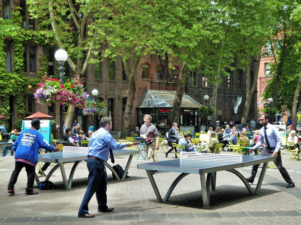 Occidental Park in Seattle's Pioneer Square neighborhood was revitalized by adding table tennis, basketball, chess, bean bag toss, a children's zone, food trucks, music and other activities that appeal to a broad variety of people.